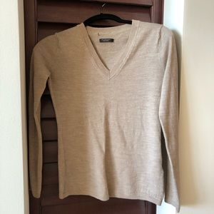 A|X merino wool v neck sweater in nude camel